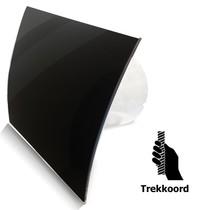 Badkamer/toilet ventilator - trekkoord - Ø100mm - gebogen glas - glans zwart