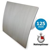 Badkamer/toilet ventilator - met timer - Ø125mm - zilver