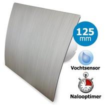 Badkamer/toilet ventilator - met timer & vochtsensor - Ø125mm - zilver