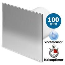 Badkamer/toilet ventilator - met timer & vochtsensor  - Ø100mm - RVS vlak