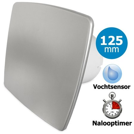 Pro-Design Badkamer/toilet ventilator - met timer & vochtsensor - Ø125mm - bold-line RVS