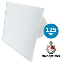 Badkamer/toilet ventilator - met timer - Ø125mm - vlak glas - mat wit