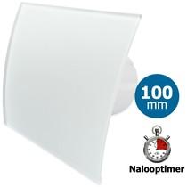 Badkamer/toilet ventilator - met timer - Ø100mm - gebogen glas - mat wit