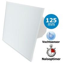 Badkamer/toilet ventilator - met timer & vochtsensor - Ø125mm - vlak glas - mat wit
