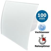 Badkamer/toilet ventilator - met timer & vochtsensor - Ø100mm - gebogen glas - mat wit