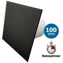 Badkamer/toilet ventilator - met timer - Ø100mm - vlak glas - mat zwart