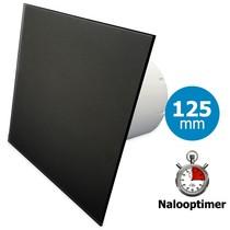 Badkamer/toilet ventilator - met timer - Ø125mm - vlak glas - mat zwart
