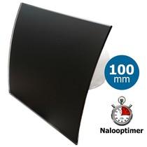 Badkamer/toilet ventilator - met timer - Ø100mm - gebogen glas - glans zwart