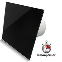 Badkamer/toilet ventilator - met timer - Ø100mm - vlak glas - glans zwart