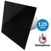 Badkamer/toilet ventilator - met timer - Ø125mm - vlak glas - glans zwart