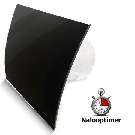 Pro-Design Badkamer/toilet ventilator - met timer - Ø100mm - gebogen glas - glans zwart