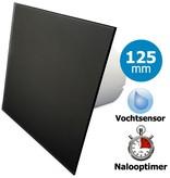 Pro-Design Badkamer/toilet ventilator - met timer & vochtsensor - Ø125mm - vlak glas - mat zwart