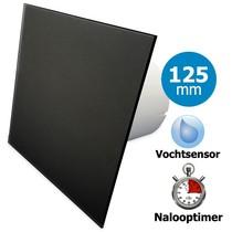 Badkamer/toilet ventilator - met timer & vochtsensor - Ø125mm - vlak glas - mat zwart