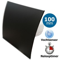 Badkamer/toilet ventilator - met timer & vochtsensor - Ø100mm - gebogen glas - glans zwart