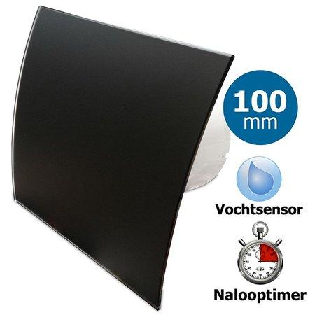 Pro-Design Badkamer/toilet ventilator - met timer & vochtsensor - Ø100mm - gebogen glas - glans zwart