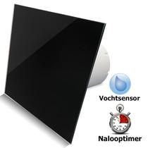 Badkamer/toilet ventilator - met timer & vochtsensor - Ø100mm - vlak glas - glans zwart