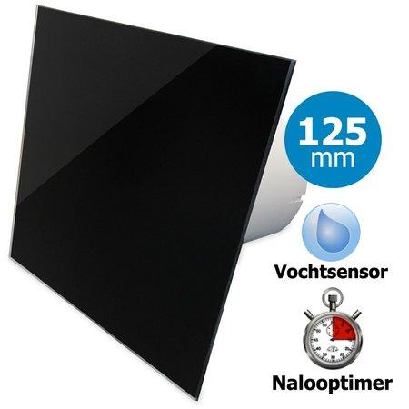 Pro-Design Badkamer/toilet ventilator - met timer & vochtsensor - Ø125mm - vlak glas - glans zwart