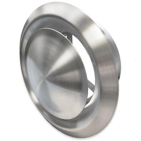 Rooster/ventiel Ø100mm - afvoer & toevoer - geborsteld RVS