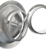 Rooster/ventiel Ø160mm - afvoer & toevoer - geborsteld RVS