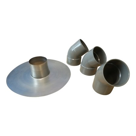 SET - Aluminium plakplaat + 3x bocht 45° - t.b.v. kabeldoorvoer