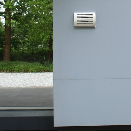 Paneir PREMIUM LINE design gevelkap -DELTA- Ø100mm - grofmazig gaas - WIT RAL9010