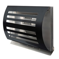 PREMIUM LINE design gevelkap -DELTA- Ø100mm - grofmazig gaas - ZWART RAL7021