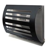 PREMIUM LINE design gevelkap -DELTA- Ø125mm - grofmazig gaas - ZWART RAL7021