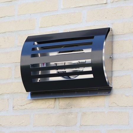 Paneir PREMIUM LINE design gevelkap -DELTA- Ø150mm - grofmazig gaas - ZWART RAL7021