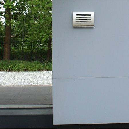 Paneir PREMIUM LINE design gevelkap -DELTA- Ø150mm - terugslagklep - WIT RAL9010