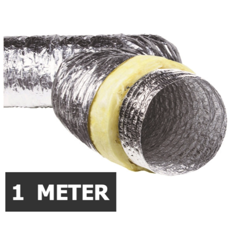 Geïsoleerde flexibele slang - Ø125mm - 1 meter - aluminium