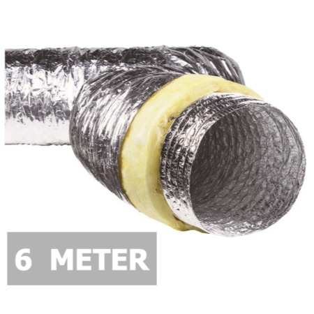 Geïsoleerde flexibele slang - Ø180mm - 6 meter - aluminium(tijdelijk uitverkocht!!!!)