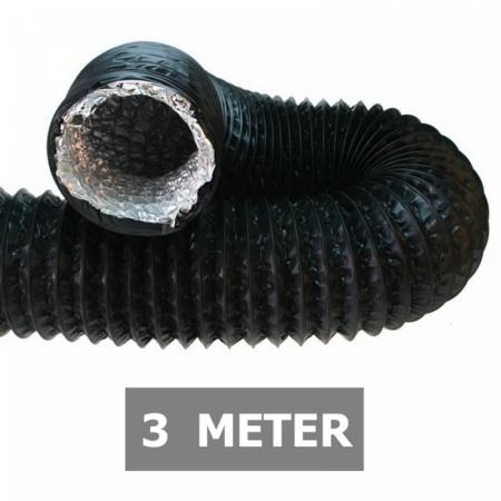 Ongeïsoleerde zwarte flexibele slang - Ø80mm - 3 meter