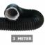 Ongeïsoleerde zwarte flexibele slang - Ø160mm - 3 meter