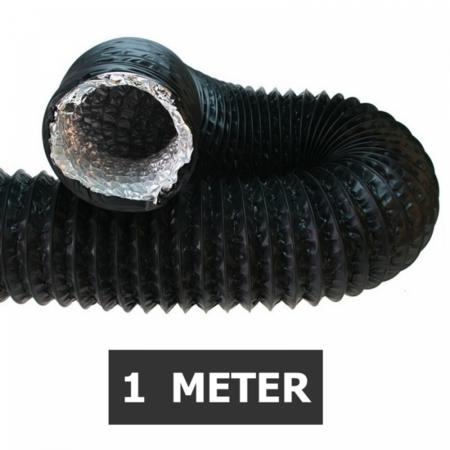 Ongeïsoleerde zwarte flexibele slang - Ø200mm - 1 meter