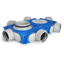 Uniflexplus + instortverdeler - 6x Ø90mm zijaansluiting - Ø160mm