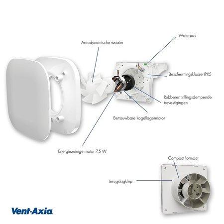 Vent-Axia Vent-Axia Supra design 100B badkamerventilator - standaard - 90 m3/h - Ø100mm