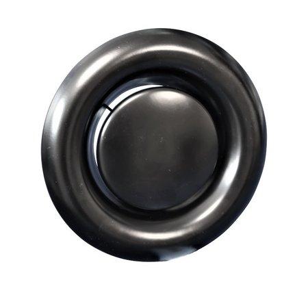 Rooster/ventiel Ø125mm staal - afvoer - met bus - zwart
