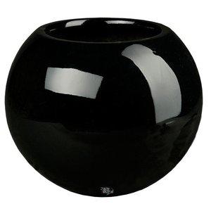 Darwin Ø35cm Zwart, hoogglans zwarte ronde bloempot. Grote hoogglans zwarte bolvazen