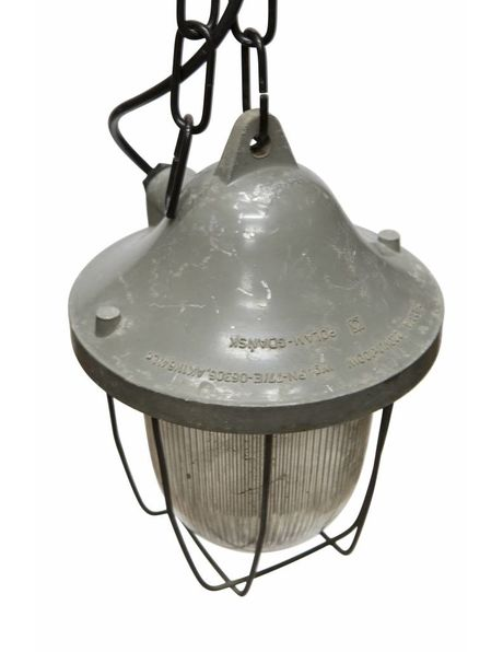 Hanging lamp industrial, cage lamp with glass shade, 1950s