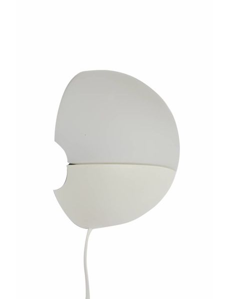 Wall lamp, white and round in shape, 1960s