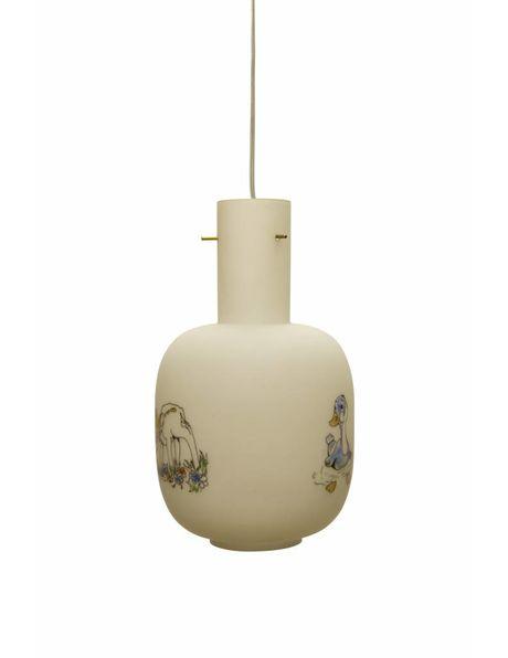 Vintage kinder hanglamp met hertje en gans, dateert uit ca. 1970