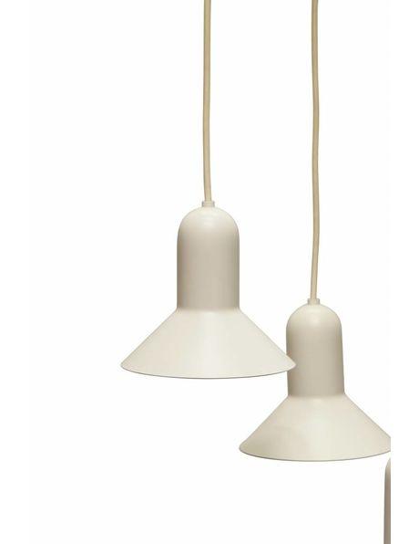 Deense hanglamp, Thorup en Bonderup, 3 witte lampenkapjes