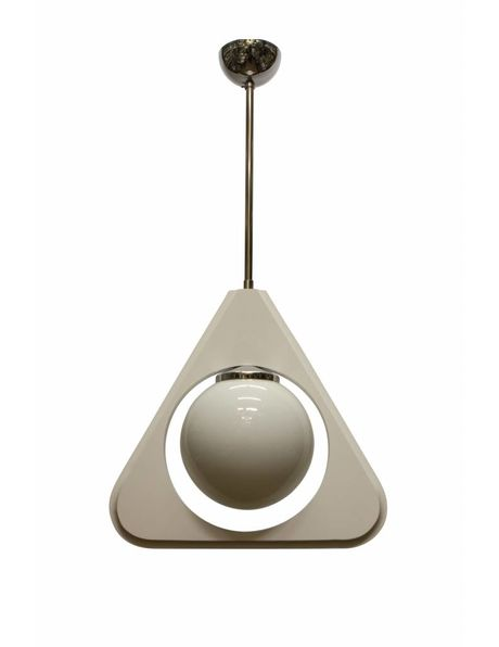 Hanging lamp white, wooden triangle with milky white glass sphere, 1960s