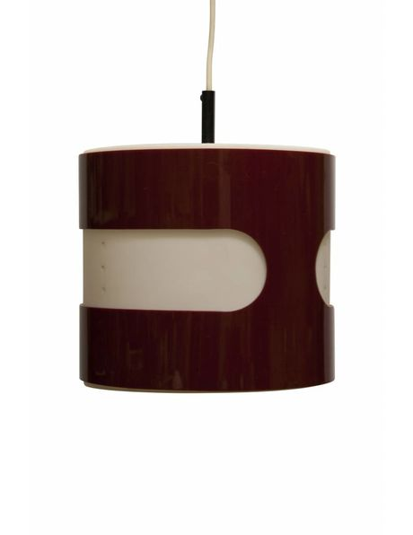 Red and white synthetic vintage hanging lamp from the 1960s