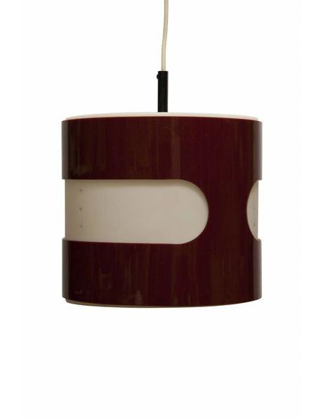 Rood-witte kunststof vintage hanglamp uit ongeveer 1960