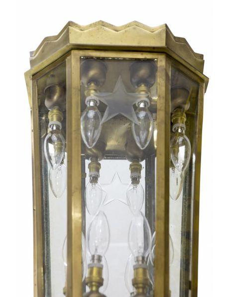 Large bronze wall lamp, masterly cut glass, ca.1920