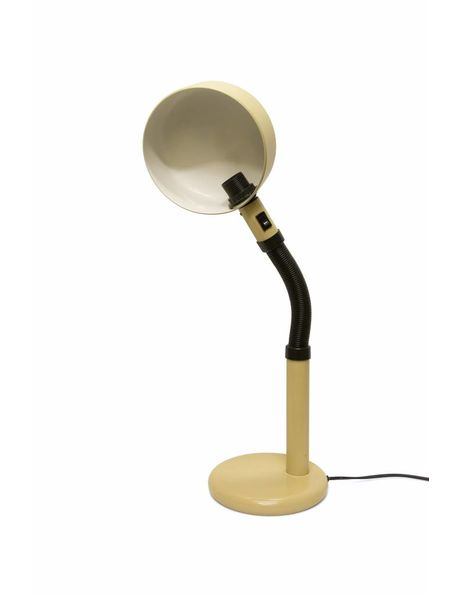 old desk lamp, cream-coloured metal, on / off button under hood, 1970s