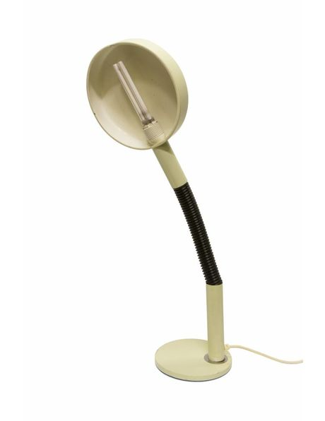 sturdy desk lamp in white / black with heavy cast iron base, 1960s