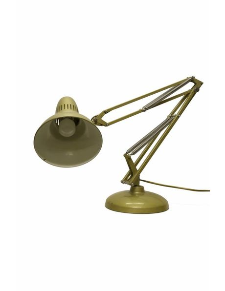 Gold-brown desk lamp, heavy base, flexibly movable, 1950s