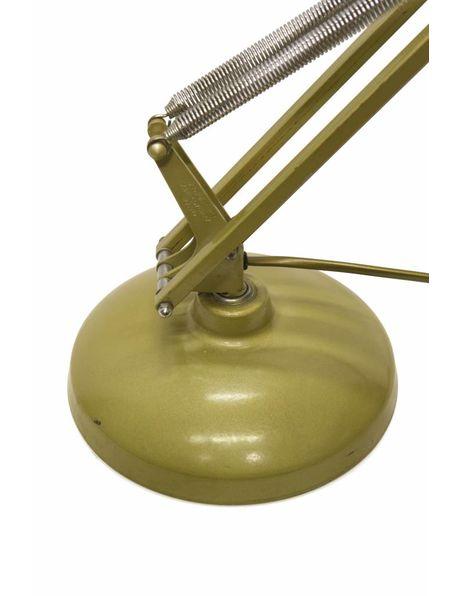 Goud-bruine bureaulamp, zware voet, zeer flexibel beweegbaar, ca. 1950